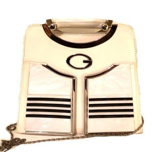Guess retro leather mother of pearl tote bag